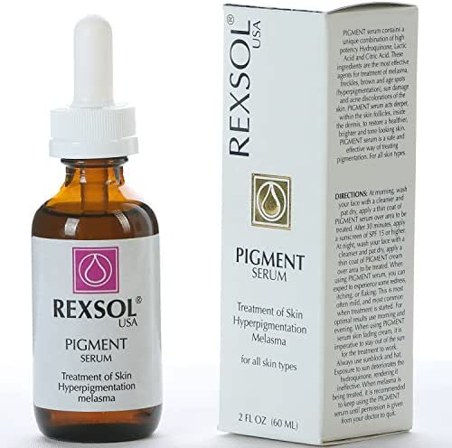 REXSOL Pigment Serum Treatment of Hyper-pigmentation | The most effective ingredients for treatment of Melasma, Freckles, Brown & Age Spots, Sun Damage & Acne discoloration of the skin - 2 oz