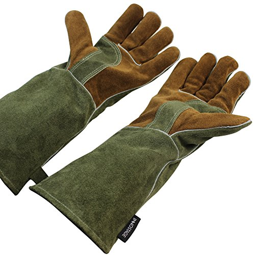 Mig/Stick Welding Gloves,Pure Leather Heat & Fire Resistant Forge Gloves Oven Mitts,Working Protect Gloves with 16″ Extra Long Sleeves for Tig Welders/Grill/Fireplace/Stove/Garden or Animal Handling
