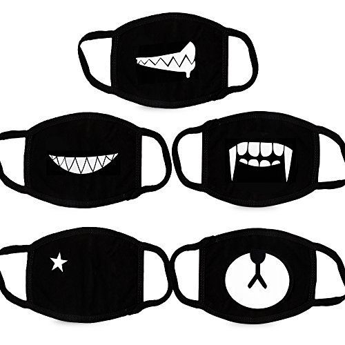 Teenitor 5 Pcs Cotton Face Mouth Mask Anti Dust Wind Cut EXO Bear Star...