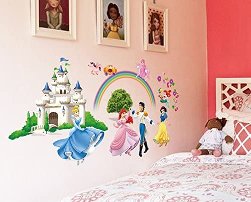 ufengke/® Princess Castle Princess and Prince Wall Decals Childrens Room Nursery Removable Wall Stickers Murals