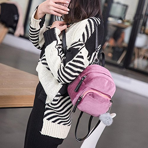 Ball Girls LMMVP Velvet Travel Fur Backpack Bags Pom Shoulder Mini School Pom Gift by Women Fashion Pink Bag aqYP1RRC