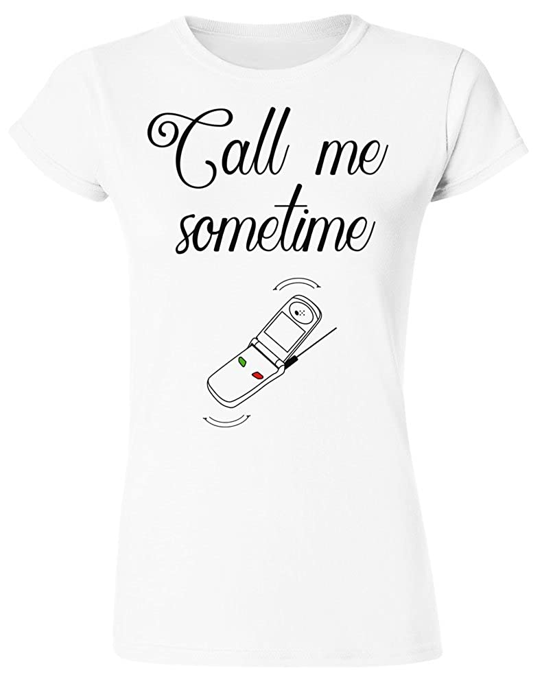 IDcommerce Call Me Sometime Cell Phone Design Womens T-Shirt Extra Large White
