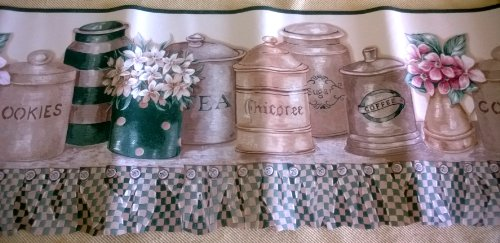 Kitchen Coffee Tea Sugar Flowers Jar Canister Green Check Wall Paper Border 15 FT.