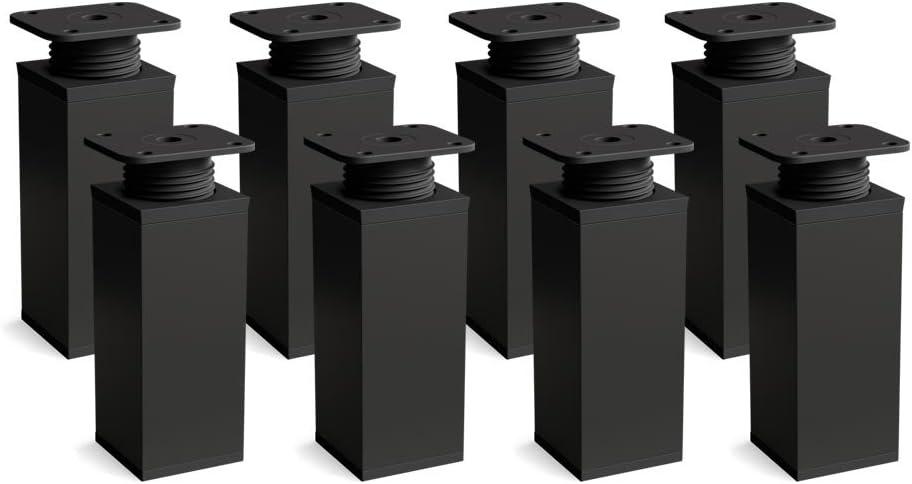 Height Adjustable Sossai/® MFV1-BM Furniture Legs Angular Profile: 40 x 40 mm Wood Screws Included Design: Matt Black Pack of 8 Height: 100 mm +20 mm Material: Aluminium