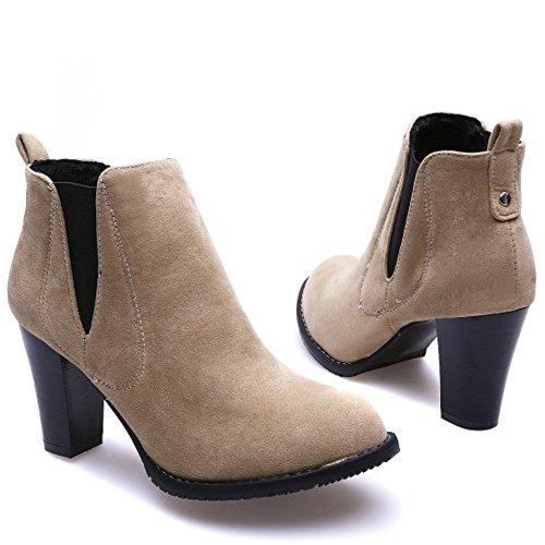 RAZAMAZA Women Comfort Block High Heel Pull on Chelsea Boots SU Beige tk1Nexu