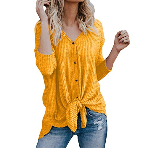 (yiqianzhaobiao_shirt Womens Henley Shirts V Neck Button Down Solid Long Sleeve Loose Casual Knit Sweaters Tops Blouse)