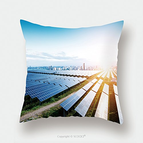 Custom Satin Pillowcase Protector Solar Panels With The Sunny Sky Blue Solar Panels Background Of Photovoltaic Modules For 592950284 Pillow Case Covers Decorative by chaoran