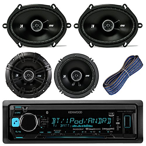 Discount Stereo Speakers Car - Kenwood KMMBT315U Car Stereo Receiver With Bluetooth USB AUX AM FM Bundle Kit With 2 Kicker 41DSC684 6x8