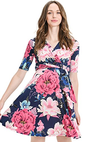 LaClef Flower Print V-Neck 3/4 Sleeve Baby Shower Front Tie Wrap Maternity Dress (X-Large, Navy/Magenta) (Tie Front Maternity Dress)