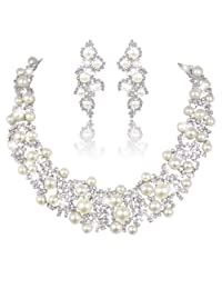 Ever Faith Bridal Lots Cream Simulated Pearl Jewelry Set Clear Austrian Crystal