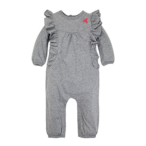 ls Romper Jumpsuit, Short Sleeve One-Piece Jumpbee, 100% Organic Cotton, Heather Grey Ruffled Bubble, 24 Months ()