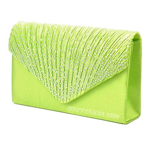 Apple Wocharm Satin Handbag Prom Bags Bag Evening Ladies Diamante Fashion Womens Wedding Bridal Shoulder Envelope Bag green Vintage Clutch ErEqTHn1