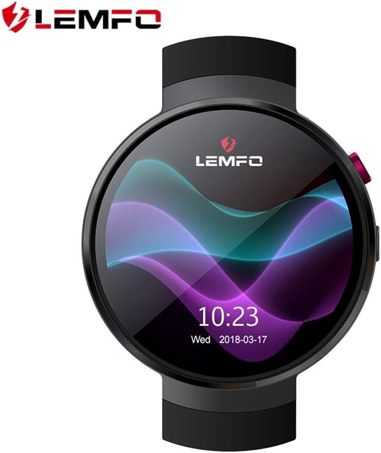 LEMFO LEM7 - Android 7.0 4G LTE Smartwatch, Reloj teléfono cámara de 2MP, MT6737 16GB ROM, traductor Incorporado, Banco de energía, Bluetooth/GPS/Monitor de frecuencia cardíaca - Negro