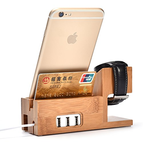 MEAFO-Bamboo-Wood-Charging-Stand-Bracket-Docking-Station-for-iPhone-and-Apple-Watch-Stand-38mm-42mm-3-in-1-Charger-with-USB-Ports