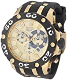 Invicta Men's 0917 Subaqua Reserve Chronograph Gold Dial Black Polyurethane Watch