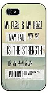 iPhone 4 / 4s Bible Verse - My flesh and my heart may fail but God is the strength - black plastic case / Verses, Inspirational and Motivational