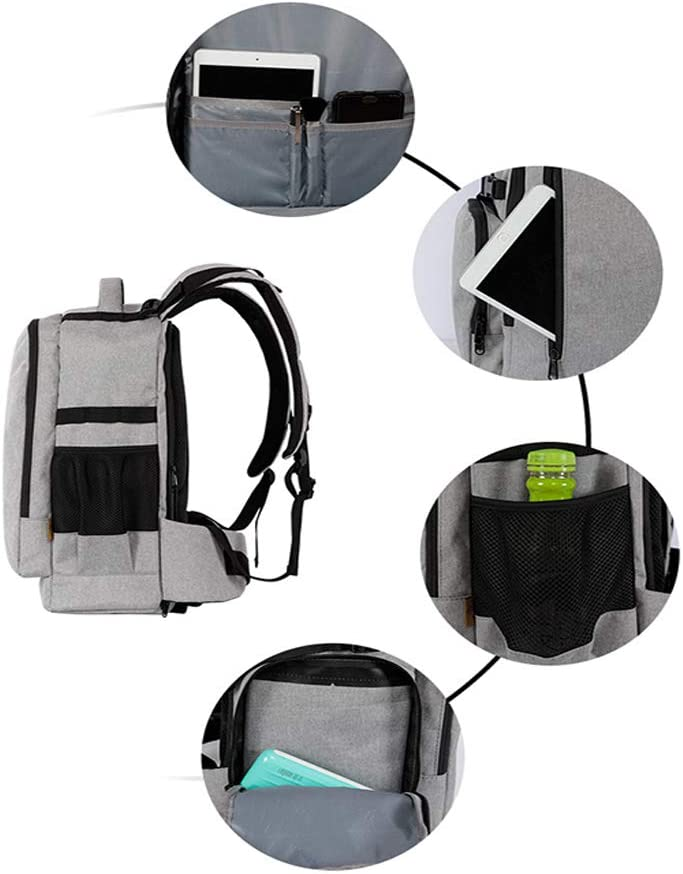 Camera Backpack Case Water Resistant Nylon Multipurpose Bag Lightweight DSLR Camera Backpack for Canon Nikon Fuji and Other Cameras Laptop Ipad Camera Cases Color : Gray