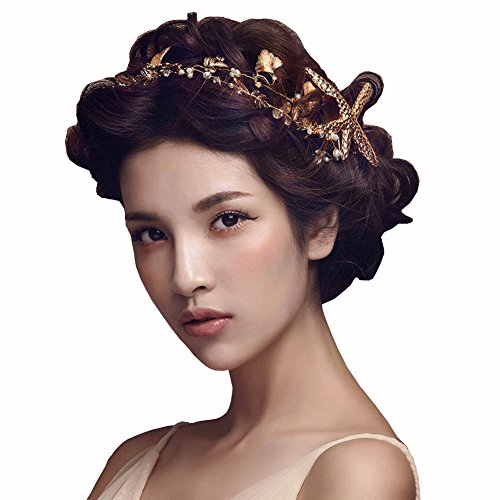 Bodermincer 1Pcs Gorgeous Handmade Starfish Hairband Women Mermaid Headband Gold Crystal Beads Pearl Hair Jewelry Crown Bridal Wedding Hair Accessories