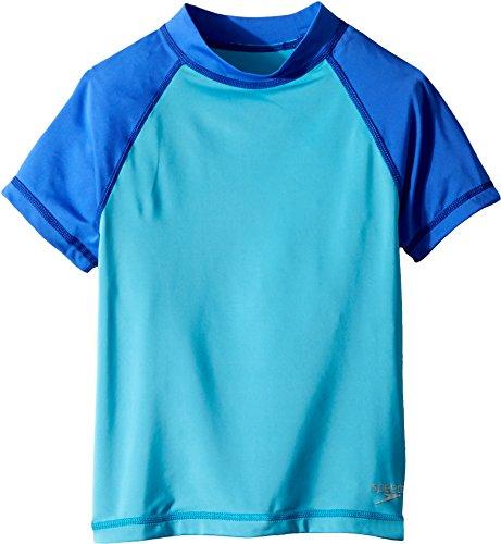 Speedo Girls Short Sleeve Colorblock Rashguard, Cyan, Medium