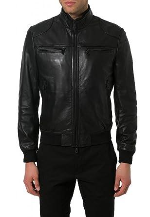 Leather4u kl767 veste pour homme en cuir noir