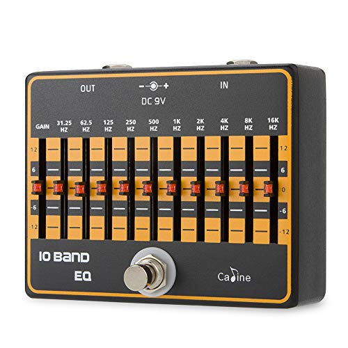 Caline 10 Band EQ Pedal Guitar Effects True Bypass with Individual Input Gain Sliders Equalizer Pedals Black CP-24