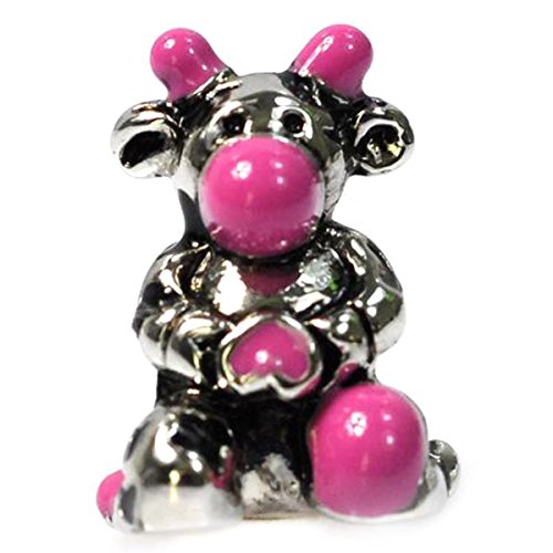 (De Buman Purple Enamel Cow Fashion Charm Bead-fits Charm)