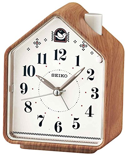 (Seiko Bedside Beep Alarm or 2 Bird Songs Clock - Wood Pattern)