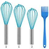 Ouddy 3 Pack Silicone Whisk, Durable Kitchen Whisk, Egg Cooking Whisk Set, Perfect for Blending, Whisking, Beating, Stirring - Come with Cooking Brush