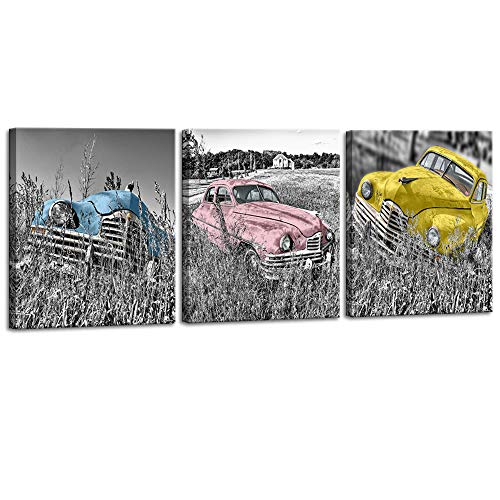DekHome 3 Piece Rustic Country Style Canvas Wall Art Blue Pink and Yellow Vintage Car Picture Modern Giclee Print Gallery Wrap Home Decor Ready to Hang 16x20Inchx3pcs
