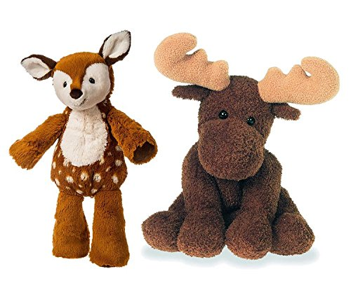Mozlly Value Pack - Mary Meyer Marshmallow Fawn Plush and Sweet Marlon Moose Plush - Machine Washable - Neutral Gift - Toddler Stuffed Animals (2 Items)