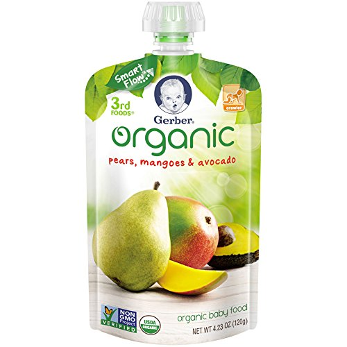 Gerber Organic 3rd Foods Baby Food, Pears, Mangoes & Avocado, 4.23 oz Pouch (Pack of 12)