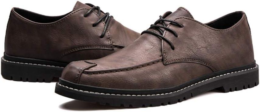 Wangqianli Mode for Hommes Oxford Casual Bas Chausse lac/ées en Cuir PU Ronde Chaussures Toe Loisirs Couleur : Khaki, Taille : 38 EU