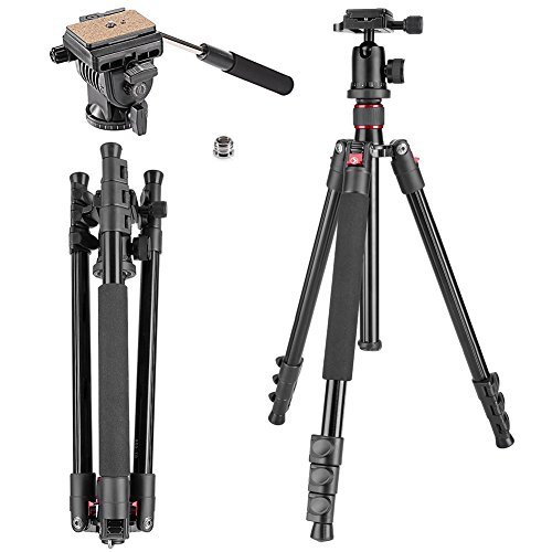Neewer Alluminum Alloy 62 inches/158 centimeters Camera Tripod with 360 Degree Ball Head,Fluid Video Head,1/4 inch Quick Shoe Plate for DSLR Camera,Video Camcorder,Load up to 17.6 pounds/8 ()