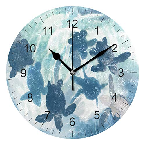 Wamika Wall Clock Sea Turtle Watercolor Blue Silent Non Ticking Round Wall Clocks, Ocean Swimming Sea Turtle Clocks 10 Inch Battery Operated Quartz Analog Quiet Desk Clock for Home Office School