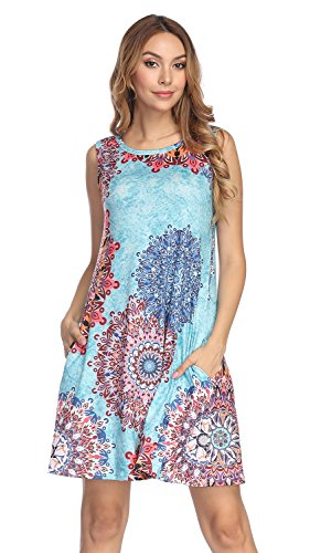 - Demetory Women's Sexy Ethnic Sleeveless Floral Print Geometric Bohemian Tank Tunic Dresses with Pocket (Light Blue, Medium)