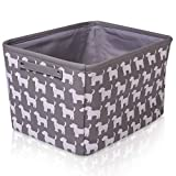 Grey Dog Canvas Storage Basket Rectangle Fabric Basket with White Dogs – Perfect for Household Storage, Fabrics or Toys. Size: 40cms x 30cms x 25cms