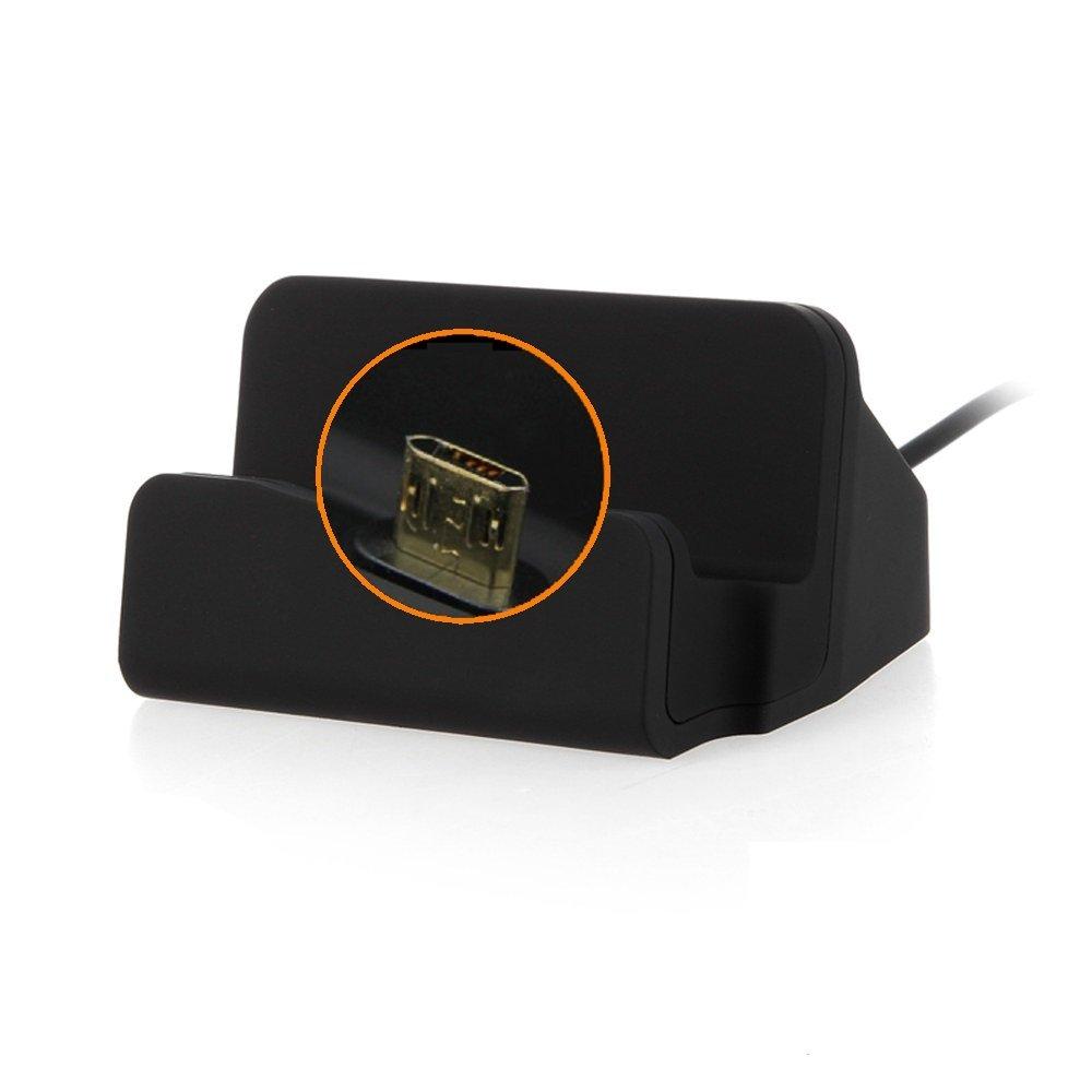 Kabel zum Laden und Synchronisieren 2016 schwarz Docking Station Micro USB Tisch Lade Dock Ladeger/ät Charger inkl K-S-Trade Dockingstation f/ür Samsung Galaxy J7