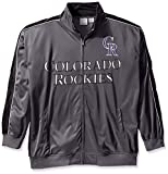 MLB Colorado Rockies Men's Team Reflective Tricot Track Jacket, 2X, Charcoal/Black