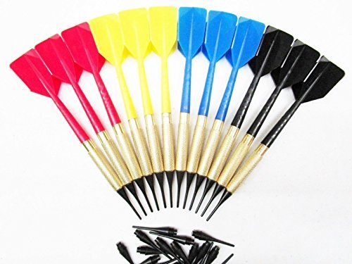12 New Bar Darts Soft Tip Brass with 15 Extra Tips Blue Red Yellow Black 4 Sets