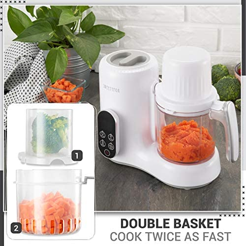 51h5OX4rPYL. AC - 6-in-1 Baby Food Maker Steamer And Blender - Vegetable Steamer, Baby Food Blender, Bottle Sanitizer, Food Warmer, Defrost, Auto Clean - Baby Food Processor To Make Organic Baby Food