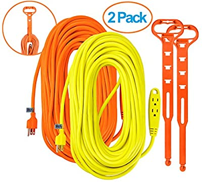 Aurum Cables 100 Feet 3 Outlet Extension Cord 14AWG Indoor/Outdoor Use- 2 Pack (Yellow/Orange)- With 2 Holders - UL Listed