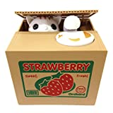 Mischief Saving Box Stealing Coin Piggy Bank, White Kitty Cat Strawberry
