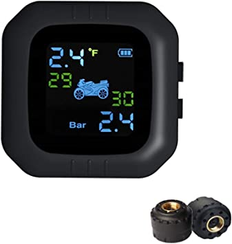 Monitor de presi/ón de neum/áticos para motocicleta,moto,sistema de monitoreo manometro digital TPMS inal/ámbrico sistema de control de presi/ón con 2 sensores externos
