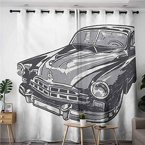 (VIVIDX Doorway Curtains,Cars Hand Drawn Vintage Vehicle with Detailed Front Part Hood Lamps Rear View Mirror,Great for Living Rooms & Bedrooms,W120x96L,Grey Blue Grey)