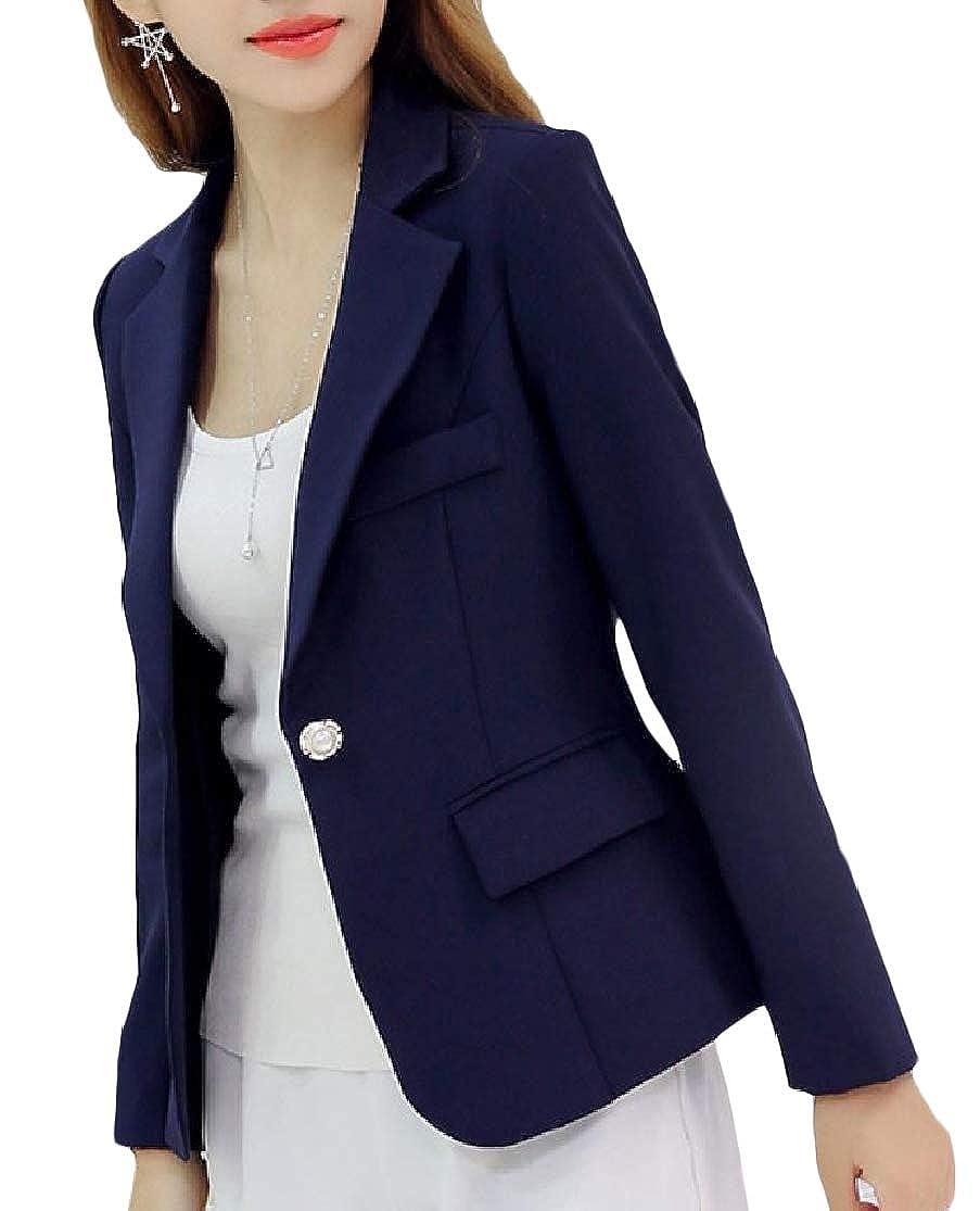 ColourfulWomen Lapel Pure Color Long Sleeve Fall Winter Buttons Pocket Blazer Suit