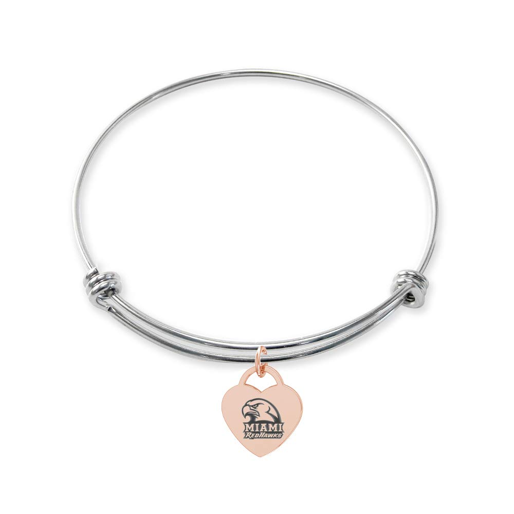 College Jewelry Miami OH Redhawks Stainless Steel Adjustable Bangle Bracelet with Rose Gold Plated Heart Charm