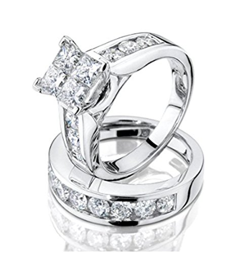 Princess Cut Diamond Engagement Ring and Wedding Band Set 1.00 Carat (ctw) in 10K White Gold (i2/i3, i/j) (10)