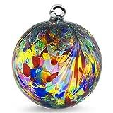 Friendship Ball ''Multicolor Plume Design'' 6 Inch by Iron Art Glass Designs