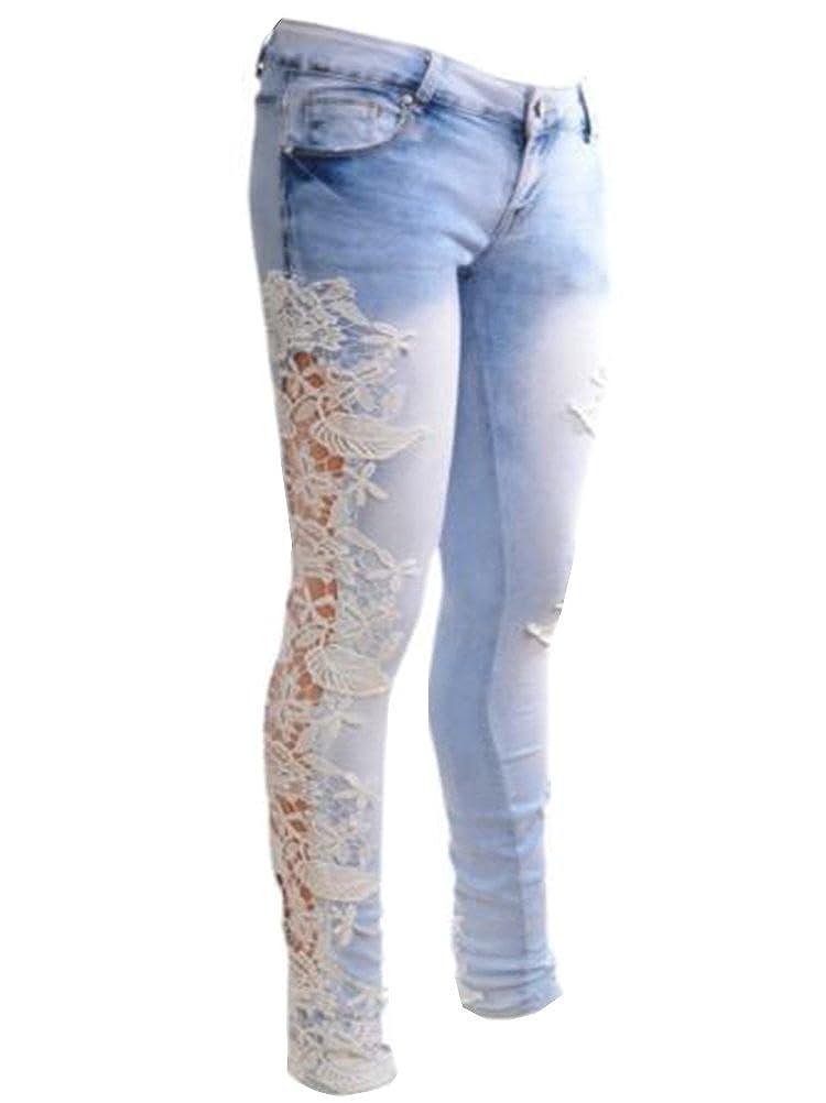 95fceeae9 Womens Sexy Denim Side Lace Crochet Skinny Legs Pencil Stretch Jeans  Women s Slim Skinny Lace Crochet Stretch Denim Jeans Pants Material Denim