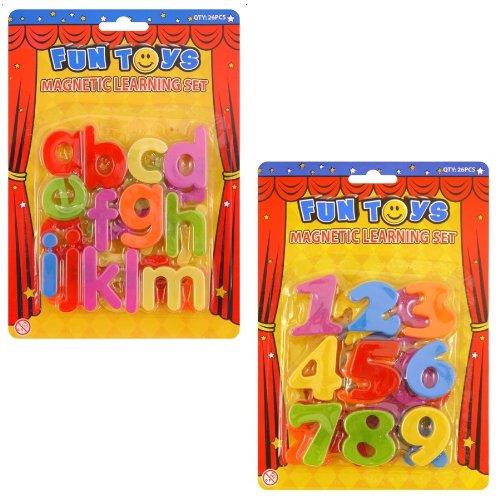 12 x Magnétique Lettres De L'Alphabet & Numéros - Plastique Jouet Éducatif (6 de chaque dessin ou modèle)